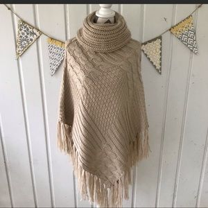 Sweaters - Cowl neck sweater cape poncho shawl wrap